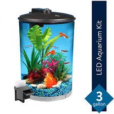 Aquarium Kit 3 Gal 360 View Fish Tank With LED Light Power Filter Air Pump Small