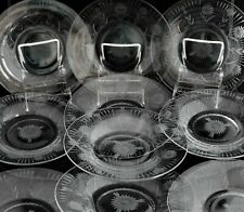 """ANTIQUE SET 10 CUT GLASS CRYSTAL ENGRAVED DAISY FLOWERS SALAD PLATES 8 3/8"""""""