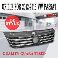 Grille For Volkswagen Passat 2012-2015 Chrome Front Bumper ABS Plastic Black