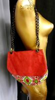 SOULEIADO Pierre Deux Textile Leather Bag Crossbody Shoulder Purse Chain Strap