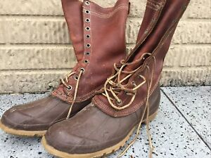Vintage Converse  Lace Up Leather Rubber Bottom Duck Boots, Mens Size 9 USA