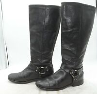 FRYE Womens Sz 8.5 Harness Back Zip Knee High Riding Biker Leather Black Boots