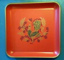"""Vintage Red & Gold Bird Folk Design Metal Serving Tray by Maxey 13"""" x 13"""""""