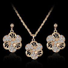 Charm Women 18K Gold Tone Flower Crystal Necklace Earrings Wedding Jewelry Set