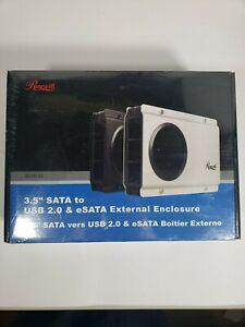 """Rosewill RX-358 V2 - Silver, 3.5"""" SATA to USB 2.0 & eSATA HDD Enclosure"""