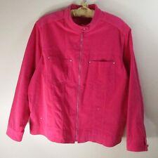 Quaker Factory Womens Jean Style Corduroy Jacket Rhinestone Zipper Pink Size 1X