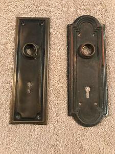 2 Different Mission Era Solid Brass Door Knob Backplates, Free S/H