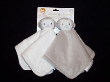 NEW Blankets and & Beyond Monkey Baby Blanket Cream Tan Set Security Blanket
