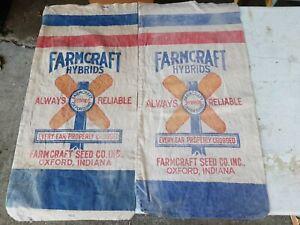 2 Vintage Hybrid Seed Corn Feed Bag Oxford Indiana farm barn Benton county RARE
