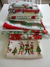 Lot of 15 Vtg 40's 50's 60's Tablecloths Cutters or Use Some Christmas & Floral