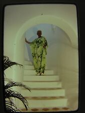 Woman In Elegant Green Mumu Dress At Top of Stairs Vtg 1980s Color Photo Slide