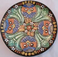 Antique Thoune Faience Owl Plate Majolica Hand Painted Plate Switzerland 19th c