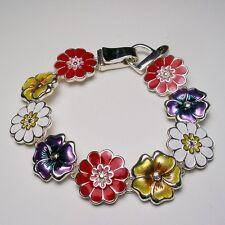 """Joan Rivers """"Flower Power"""" Bracelet  7 1/2""""  Silvertone"""