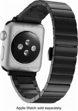 Platinum Smooth Metal Link Apple Watch 38mm Black Stainless Steel Band Strap