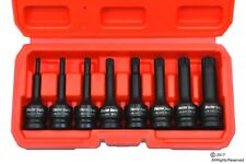 "Automotive 8pc 1/2"" Drive Long Impact XZN Spline Socket Set Auto Shop Tools"