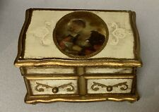 Gold Florentine Wooden Tole Jewelry Box Shabby Vintage Italian Style Music Japan