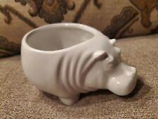 White Ceramic Hippo Hippopotamus Planter