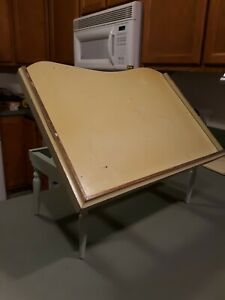 Vintage Wood Bed Folding Table Tray W/adjustable Tilting Top