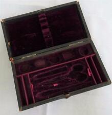Antique Victorian Black Gilded Leather & Burgundy Velvet Sewing Case Etui c1880