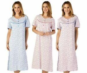 Damen Slenderella 100% Baumwolle Blumen Kurzärmliges Trikot Nachthemd Nachtkleid