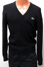 vtg Chemise Lacoste BLACK WOOL V-NECK Sweater SMALL green gator 80s/90s japan S