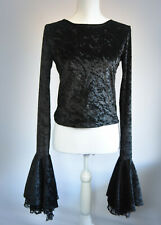 Hot Topic Black Crushed Velvet Long Sleeved Top S/M UK 10 Gothic New in Box Lace