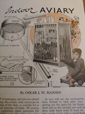 JULY 1937 MAGAZINE PAGE #A331- INDOOR AVIARY PLANS- BUILT OF MAHOGANY AND TUBING