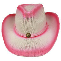 Silver Fever Fashionable Ombre Woven Straw Cowboy Hat Pink