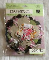 NEW K & Company Brenda Walton Flora & Fauna Petal Fabric Art Pack - 20 Pieces