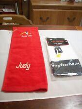 Towels Golf: (2):1-Red I Love Golf/JUDY & 1-Wh,Black & Yel Taylor Made Burner476