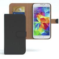 Tasche für Samsung Galaxy S5 / Neo Case Handy Wallet Schutz Hülle Cover Schwarz