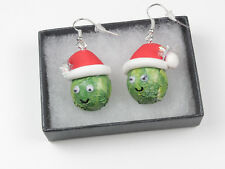 handmade 3d  fimo  christmas sprout dangle earrings boxed