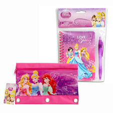 Princess Notebook Journal Diary w Pen Book Set + 3-Ring Pencil Pouch Party Favor
