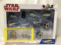 Star Wars Hot Wheels Hero & Villain Starships 11 Pack Ships Last Jedi Die Cast