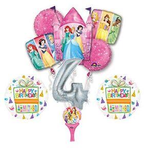 New! 9pc Disney Princess 4th BIRTHDAY PARTY Balloons Decorations Supplies