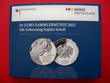 "20 € Silber-Gedenkmünze 2021 ""100. Geburtstag Sophie Scholl"" Ag 925 - PP*"