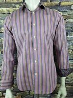 Tallia 1893 Shadow Striped Mens Shirt Contrast Cuffs M 15.5 (j30
