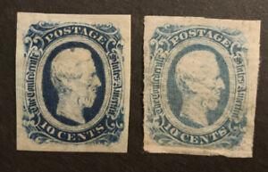 TDStamps: US Confederate States CSA Stamps Scott#12 12a Mint H OG Lightly Crease
