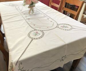 """Cross-Stitch Floral 62"""" x 104"""" Beige Tablecloth w/ Crochet Lace Insets (RF954)"""
