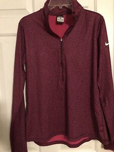 Nike Pro  Dri-Fit Fitted 1/4 Zip Pullover Long Sleeve Womens Shirt XL Pink