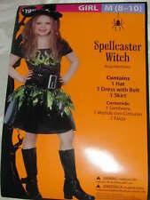 HALLOWEEN COSTUME Scary Spellcaster Witch Girls Hat Dress Belt Skirt M 8-10 NEW!