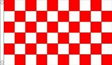 RED and WHITE CHECK FLAG 5' x 3' Chequered Team Sports Football Club Flags