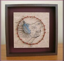 BIRD WALL ART IN FRAME BEADS AND WIRE ON CANVAS BIG SKY CARVERS FREE U.S. SHIP