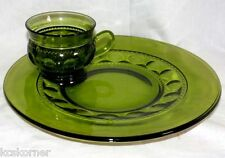 Crown Colony Snack Set Vintage 1960's Green Olive Four Sets Indiana Glass