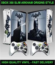 XBOX 360 SLIM CONSOLE STICKER BATMAN ARKHAM ORIGINS SKIN & 2 CONTROLLER SKINS
