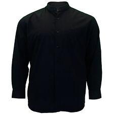 Mens Big Size Cotton Valley Long Sleeve Plain Granddad Collar Shirt 3XL 5XL 6XL