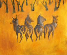 Antelopes gnu expressionist oil painting