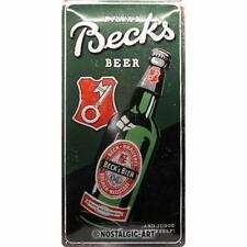 More details for beck's drink beer large metal sign 250mm x 500mm (na)