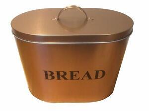 Copper Coated Kitchen Oval Dented Bread Bin Storage Unit