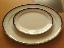 Vintage Large Heavy Oval Meat Serving Plate Platter & Smaller Oval Plate.